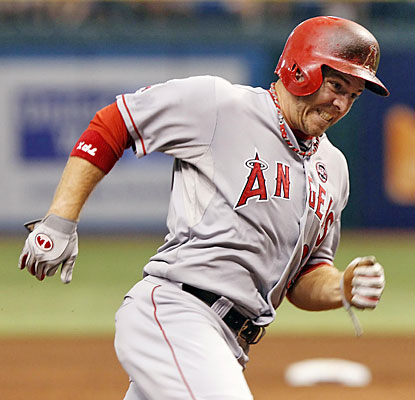 J.B. Shuck chugs around third in the sixth inning to score the Angels' second run of the game.  (USATSI)