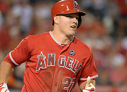 Mike Trout rounds the bases for one of the Angels' 11 runs in what turns out to be a rout over the Rays.  (USATSI)