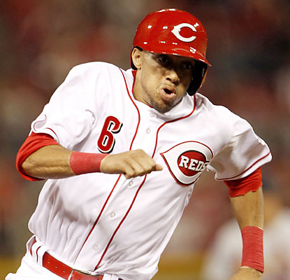 Billy Hamilton shows off his burners in his MLB debut. The rookie steals second and later scores the decisive run. (USATSI)