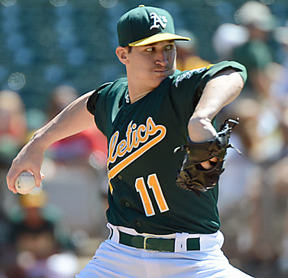 Jarrod Parker extends his unbeaten streak to 18 consecutive starts, eclipsing Catfish Hunter's Oakland mark set in 1973. (USATSI)
