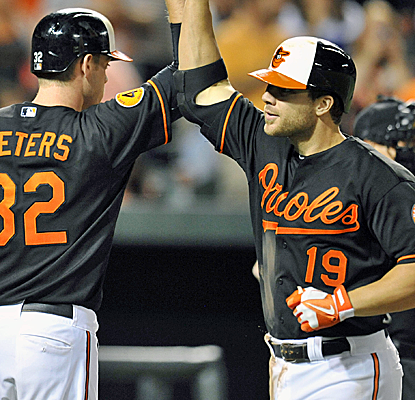 Chris Davis hits his 48th home run of the season as the Orioles continue to push for the playoffs.  (USATSI)