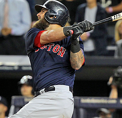 Mike Napoli fuels a Red Sox rally with a grand slam that bounces off the top of the right-field fence.  (USATSI)