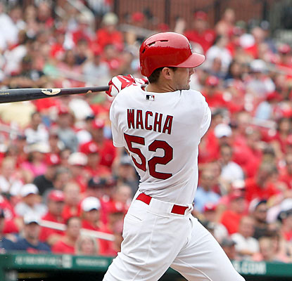 Pitcher Michael Wacha doesn't only throw a gem (7 IP, 2 hits, 0 ER), he also contributes with 2 RBI in the blowout. (USATSI)