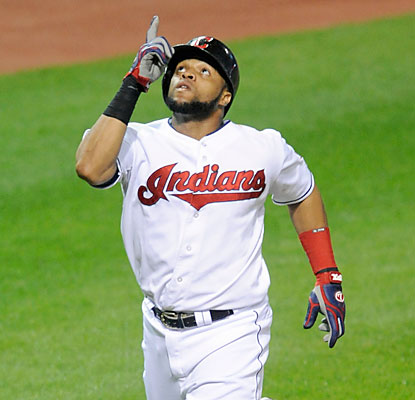 Carlos Santana provides one of three home runs for the Indians, who win despite racking up just five hits. (USATSI)