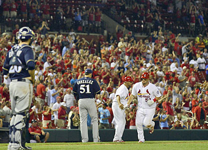 St. Louis fans erupt after Matt Adams blasts a two-run homer in the eighth inning against the Brewers.  (USATSI)