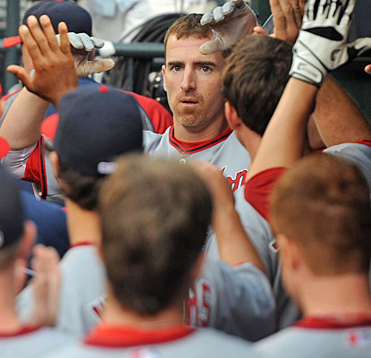 Adam La Roche faces a sea of hands after his home run is confirmed by review in the second inning.  (USATSI)