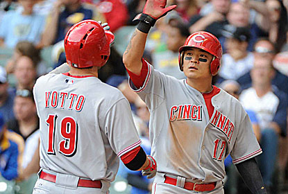Joey Votto and Shin-Soo Choo each goes 2 for 3 with three RBI and two-run HRs as Cincy stays close to St. Louis and Pittsburgh. (USATSI)