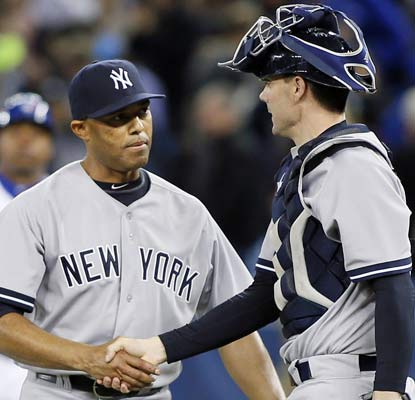 The Yankees call on Mariano Rivera for a four-out save and he delivers to wrap up a much-needed win over the Jays.  (USATSI)