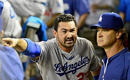 Adrian Gonzalez, shown after his ejection in the sixth inning, and Don Mattingly will have to wait another day to clinch. (USATSI)