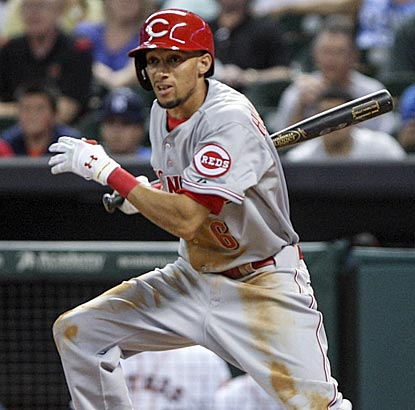 In his first start as a big-leaguer, speedster Billy Hamilton gets his first three hits and adds four stolen bases.  (USATSI)