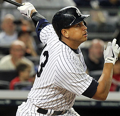 Alex Rodriguez connects for his 24th career grand slam, pushing him past Lou Gehrig for the all-time record.  (USATSI)