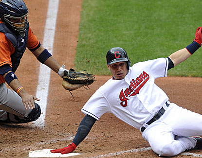 Asdrubal Cabrera scores twice for the Indians against the Astros, giving him 59 runs on the year. (USATSI)