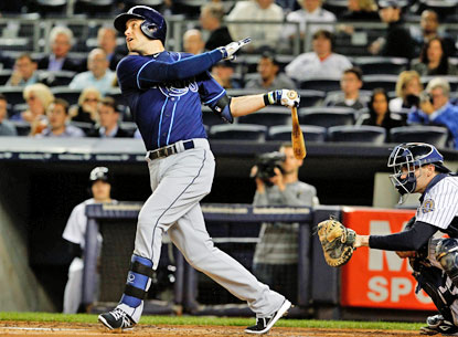 Matt Joyce hits a home run in the first inning of the Rays' 7-0 win over the Yankees. (USATSI)