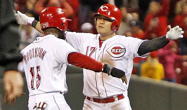 Shin-Soo Choo is congratulated after a winning hit. Will he be cashing in on his fine season? (USATSI)
