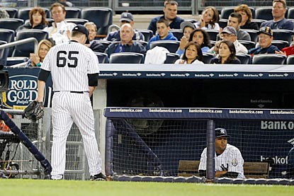 Somewhat fittingly, Phil Hughes (4-14) has a final disappointing start on the night the Yankees get eliminated.  (USATSI)