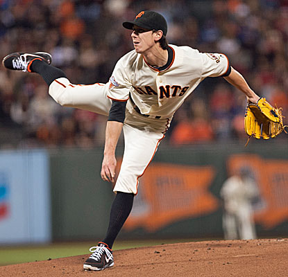 Tim Lincecum allows two runs and three hits in seven impressive innings against the rival Dodgers. (USATSI)