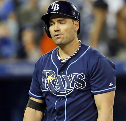 Luke Scott and the Rays commit a season-high three errors as they see their seven-game winning streak come to an end.  (ULive)