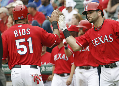 Alex Rios contributes for the Rangers with a double in the fifth and finishes with one run and an RBI. (USATSI)