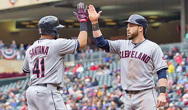 Carlos Santana (41) high-fives Jason Kipnis after hitting a fourth-inning HR on Saturday. (USATSI)