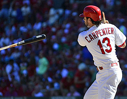 St. Louis' Matt Carpenter breaks his bat and goes hitless, but still leads the league with 199 hits. (USATSI)