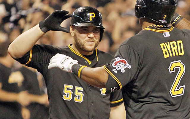 Russell Martin, who plays hero on offense, is just the second Pirate to hit two HRs in a postseason game. (USATSI)