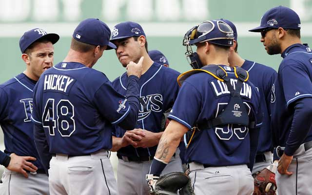 Things fall apart for Matt Moore and the Rays following Wil Myers' blunder in right field. (USATSI)