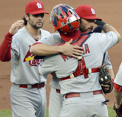 The Cardinals celebrate winning Game 4 and extending their season for at least one more contest. (USATSI)