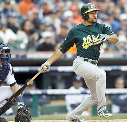 Coco Crisp leads the Athletics in hits with three -- including two doubles -- to help the A's take the lead in the ALDS.  (USATSI)