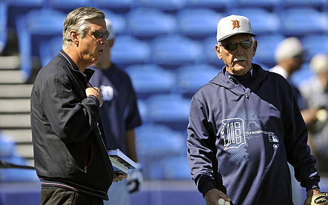 Tigers GM Dave Dombrowski with manager Jim Leyland. (USATSI)