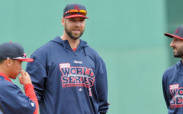 Although Chris Carpenter won't be playing in the Fall Classic, he's still enjoying the moment with his club. (USATSI)