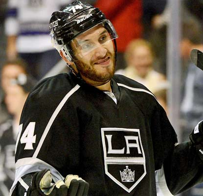 What can he say? Dwight King records his first career hat trick to help his team win a high-scoring game in LA.  (USATSI)