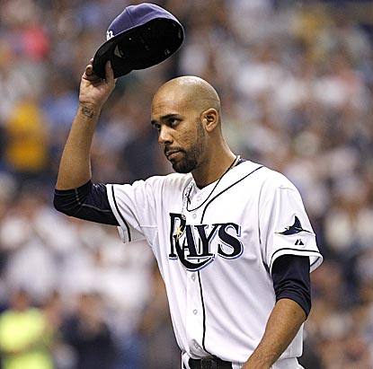 David Price, in what might be his final Opening Day as a Ray, doffs his cap after getting relieved in the eighth inning.  (Getty Images)