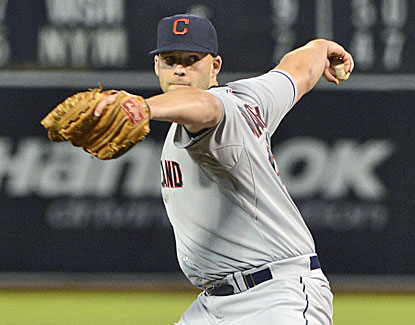Justin Masterson pitches seven scoreless innings for Cleveland but doesn't figure in the decision. (USATSI)
