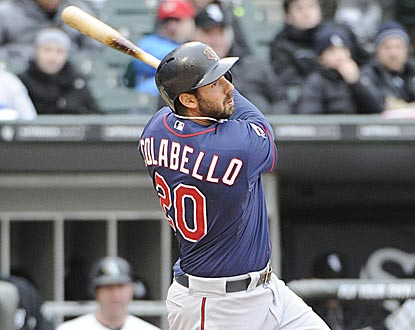 Twins 1B Chris Colabello follows through on his double in the third inning, which brings home the first three of his six RBI.  (USATSI)