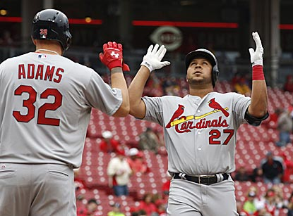 St. Louis shortstop Jhonny Peralta reacts upon completing his two-run home run in the second inning.  (USATSI)