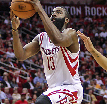 James Harden goes to work on the Thunder, scoring 39 points to help the Rockets seal a playoff spot.  (USATSI)