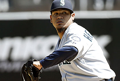 Felix Hernandez strikes out eight in 8 1/3 innings for his 16th career win vs. the A's, his most against any opponent. (USATSI)
