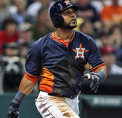 Jonathan Villar connects for a two-run homer, one of Houston's five long balls in a victory over the Angels. (USATSI)