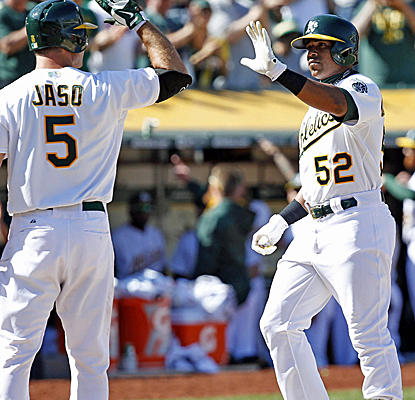 Yoenis Cespedes connects for an opposite-field home run, and the Athletics scratch out a series victory.  (USATSI)