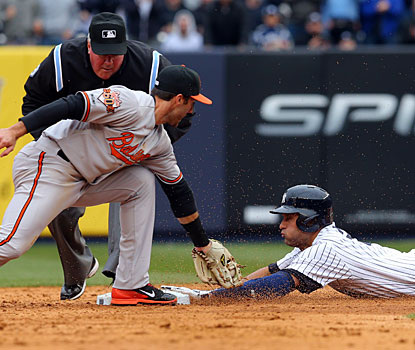 Derek Jeter beats the tag at second base to lead off the fifth with a double; he would later score.  (USATSI)