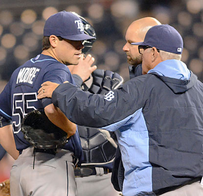 Rays All-Star lefty Matt Moore exits his start in the fifth inning with a sore left elbow.  (USATSI)