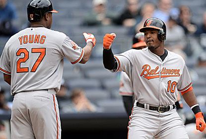 Everyone in Baltimore's lineup gets a hit, including Delmon Young and Adam Jones, who combine to go 5 for 10 with 5 RBI. (USATSI)