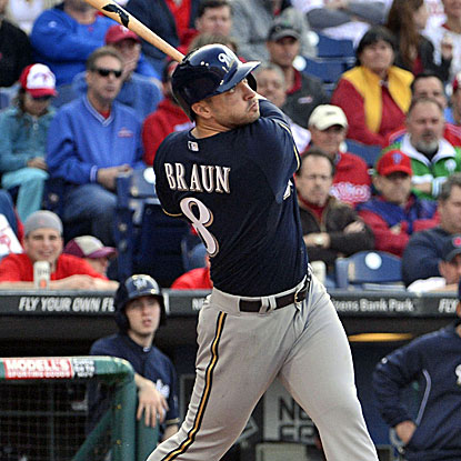 Ryan Braun watches after hitting one of his three home runs in a 10-4 win over the Phillies on Tuesday. (USATSI)