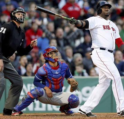 David Ortiz drives a ball over Pesky Pole in right field to vault the Red Sox into the lead.  (USATSI)