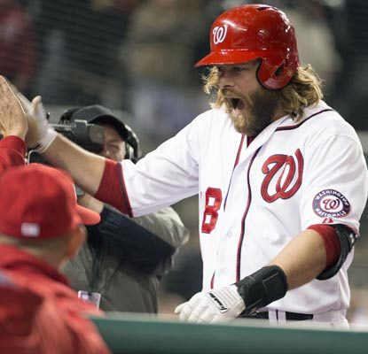 Jayson Werth's first home run of the season is a huge one -- a grand slam in the eighth inning off Carlos Marmol.  (USATSI)