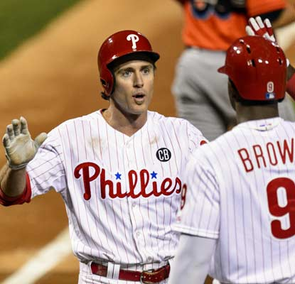 Chase Utley (left) and Domonic Brown help the Phillies hand Marlins phenom Jose Fernandez the worst outing of his career.   (USATSI)