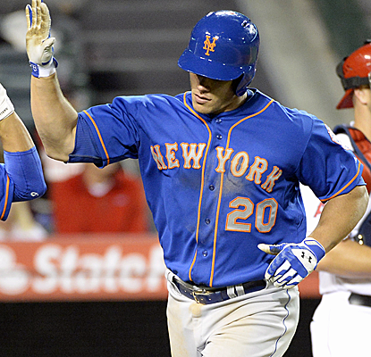 Anthony Recker breaks a 6-6 tie with a long home run to left, lifting the Mets past the Angels.  (USATSI)