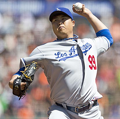 Hyun-Jin Ryu (3-1) pitches seven shutout innings, allows four hits and one walk and lowers his ERA to 1.93.  (Getty Images)