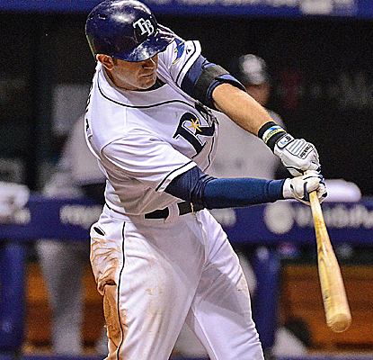 Evan Longoria reaches base in all five plate appearances, and the Rays pull away with a big eighth inning.  (USATSI)