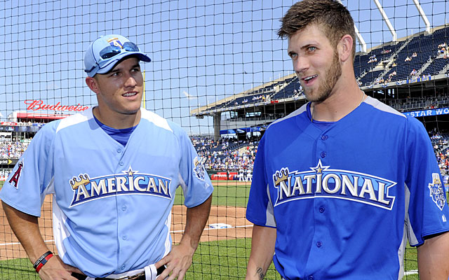 All-Star foes as rookies in 2012, Mike Trout and Bruce Harper meet as real opponents for the first time this week. (USATSI)